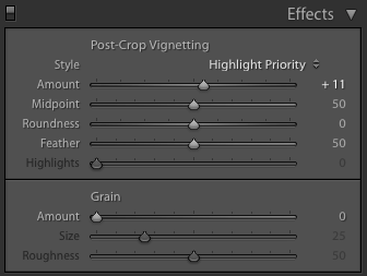 Post Crop Vignette settings