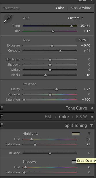 Split tone settings